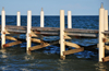 Belize City, Belize: yacht pier on Marine Promenade - detail - photo by M.Torres