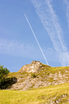 Hope Valley, Peak District, Derbyshire, England: airliner and its vapour trail - near Castleton - contrails - photo by I.Middleton