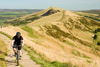Peak District, Derbyshire, England: cycling across Mam Tor, near Castleton - photo by I.Middleton