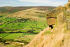 Peak District, Derbyshire, England: rock and valley view - near Castleton - photo by I.Middleton