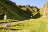 Winnats Pass, Peak District, Derbyshire, England: pass, limestone pinnacles and road - National Trust's High Peak Estate, Castleton area - photo by I.Middleton