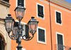 Sassari / T�thari, Sassari province, Sardinia / Sardegna / Sardigna: street lamp and fa�ade on Piazza Tola - Carra Manna - photo by M.Torres