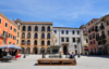 Sassari / T�thari, Sassari province, Sardinia / Sardegna / Sardigna: piazza Tola - once used to burn heretics - Usini and Tola palaces - Carra Manna - photo by M.Torres